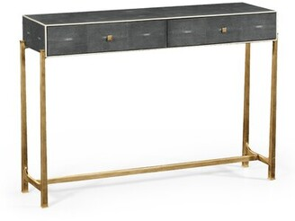 "Box 48"" Console Table Jonathan Charles Fine Furniture Table Top Color: Anthracite, Table Base Color: Gold"