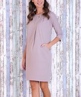 JET Beige Pocket Button Wrap Dress
