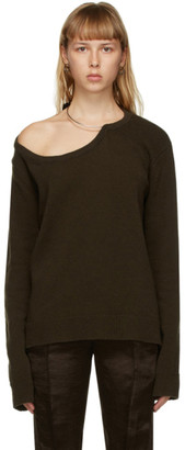 Ann Demeulemeester Khaki Wool Oversized Sweater