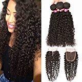 BHF HAIR Brazilian Curly Hair 3 Bundles with Lace Closure(4x4) 8a Grade Virgin Human Hair Weave Natural Black Extensions 20 22 24+18