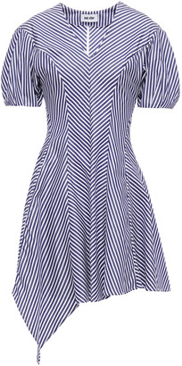 Each X Other Asymmetric Pleated Striped Cotton-poplin Mini Dress
