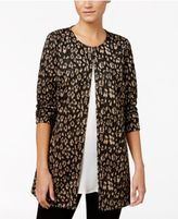 JM Collection Petite Metallic-Print Jacket, Only at Macy's