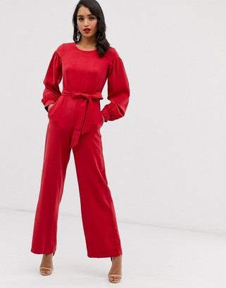 Closet London Closet puff sleeve jumpsuit-Red