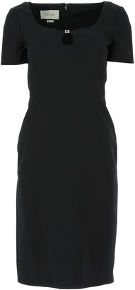 Gucci Buckle-Detailed Sweetheart Neck Dress