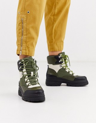 Asos Design DESIGN Advantage sporty flat lace up ankle boots-Green