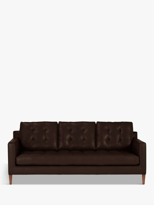 John Lewis & Partners Draper Large 3 Seater Leather Sofa, Dark Leg