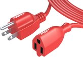 [UL Listed] Pwr+ NEMA 5-15P to NEMA 5-15R 25 Ft Extra Long 16AWG 10A 3 Prong Outdoor & Indoor Extension-Cord Power Strip for Air Leaf Blower, Sewing Machine, Electric Drill, Industrial Equipment, Lawn-mower, Hedge Trimmer Refrigerator, Washer, Air Compressor, Power Tool Charger Outlet Saver Cable Extender Liberator, Red