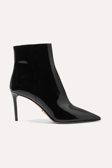 Prada 85 Patent-leather Ankle Boots - Black