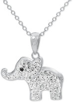 Macy's Crystal Elephant Pendant Necklace in Fine Silver-Plate