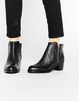 Ted Baker Jylon Leather Mid Heeled Zip Ankle Boots