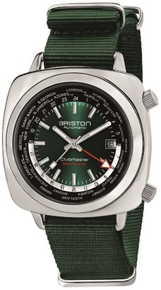Briston Clubmaster Traveler Worldtime Gmt Automatic, Steel, British Green Dial And Nato Strap Limited Edition