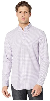J.Crew Slim Stretch Secret Wash Shirt in Basic Gingham Organic Cotton (Basic Gingham Purple) Men's Clothing