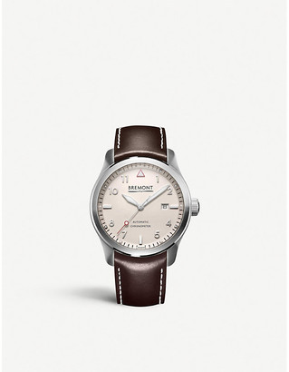 Bremont SOLO/WI-SI stainless steel leather strap watch