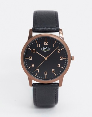 Limit faux leather watch in black with brown case