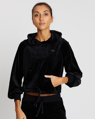Running Bare Women's Black Hoodies - Rook To Bishop Cropped Hoodie - Size 16 at The Iconic