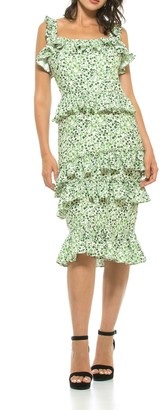 Alexia Admor Liv Floral Ruffle Midi Dress