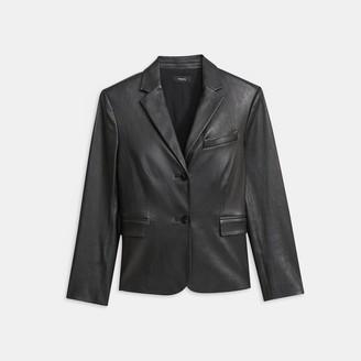 Theory Leather Shrunken Blazer
