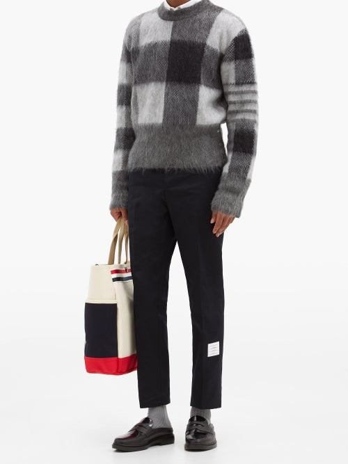 Thumbnail for your product : Thom Browne Logo-patch Cotton Straight-leg Chino Trousers - Navy