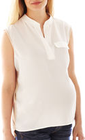 Asstd National Brand Maternity Sleeveless Two-Color Blouse - Plus