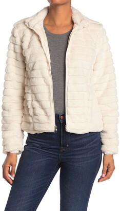KENDALL + KYLIE Zip Up Faux Fur Jacket