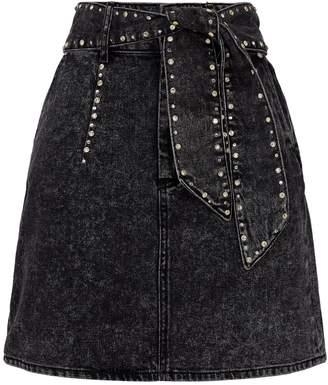 Sandro Belted Crystal-Embellished Skirt