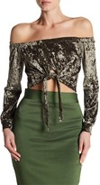Wow Couture Off-the-Shoulder Crushed Velvet Crop Top