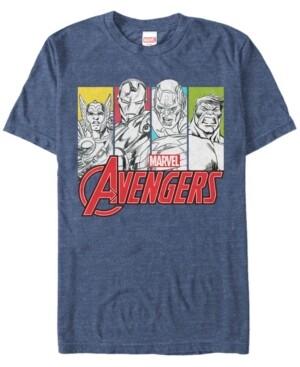 Marvel Men's Comic Collection Classic Pop Art Group Panels Short Sleeve T-Shirt
