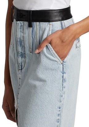 Alexander Wang Leather-Trimmed Denim Maxi Skirt