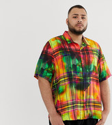 Jaded London revere collar shirt in tie dye check