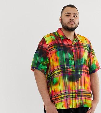 Jaded London revere collar shirt in tie dye check