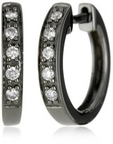 "KC Designs Charmed Life"" Diamond 14k White Gold Mini Hoop, Black Finish"