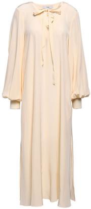 Tibi Lace-up Silk Crepe De Chine Midi Dress