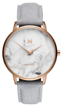 MVMT Beverly Marble Gray Leather Strap Watch 38mm