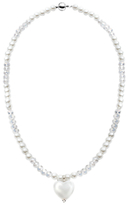 Glass Heart Martick and Faux Pearl Pendant Necklace