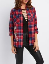 Charlotte Russe Plaid Button-Up Pocket Shirt