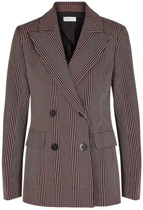 Rosetta Getty Checked Double-breasted Stretch-jersey Blazer