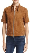 Theory Lavzinie Short-Sleeve Suede Jacket