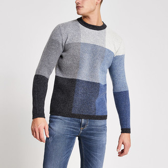 River Island Selected Homme grey blocked knitted jumper