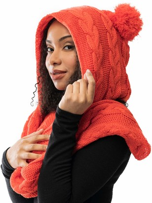 Maya The Brand MAYA | Silk Satin Lined Slouchy Beanie & Scarf | Knit Large Cap & Scarf | Ideal for curly and natural hair - orange - One Size