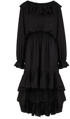 MONICA Nera Laura Black Silk Ruffle Dress