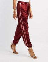 Charlotte Russe Satin Varsity Stripe Jogger Pants