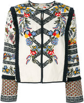 Tory Burch fringe trim embroidered jacket - women - Cotton/Linen/Flax/Polyester - 6