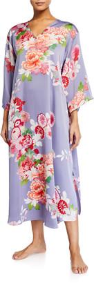 Natori Winter Peony Floral-Print Caftan