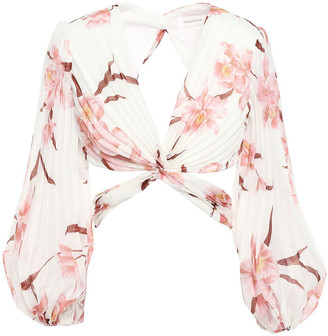 Zimmermann Cropped Cutout Twisted Pleated Floral-print Organza Blouse