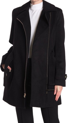MICHAEL Michael Kors Asymmetrical Zip Belted Wool Blend Coat