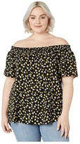 MICHAEL Michael Kors Plus Size Off Shoulder Smock Top (Black/Bright Dandelion) Women's Clothing