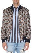 Fendi Logo-Print Silk Bomber Jacket