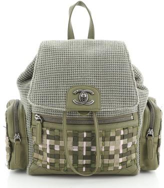 Chanel Cuba Pocket Backpack Tweed with Mixed Media and Caviar Medium