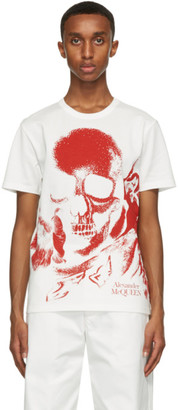 Alexander McQueen White and Red Skull Print T-Shirt
