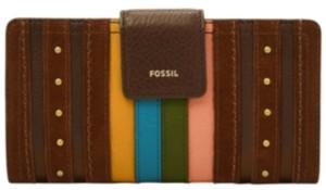 Fossil Women's Logan Stripe Tab Leather Clutch Wallet